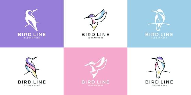 Set di uccelli carini con collezione di design del logo in stile line art