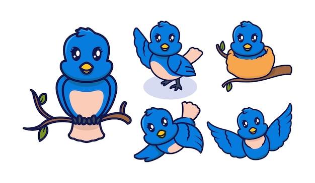 Set di simpatici uccelli blu mascotte logo design illustrazione