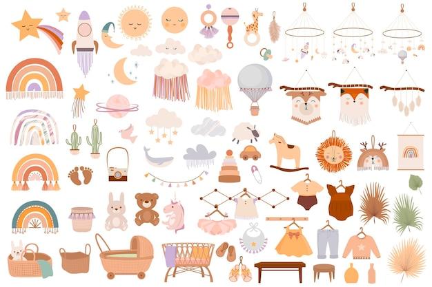 Set di simpatici oggetti boho baby in stile scandinavo.