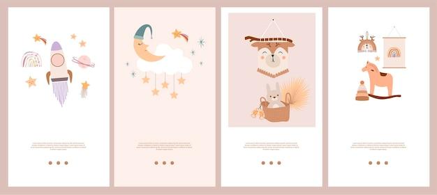 Set di modello di storie di bambini boho carino in stile scandinavo.