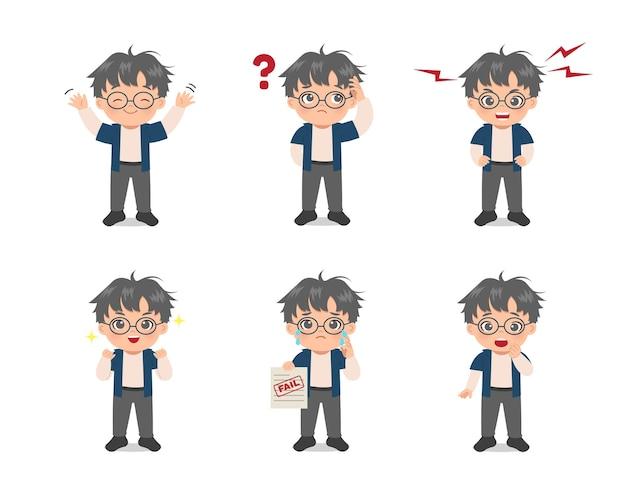 Set di espressioni di avatar ragazzo carino. design piatto del fumetto.