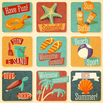 Set di simpatici emblemi estivi luminosi con elementi tipografici. vettore.