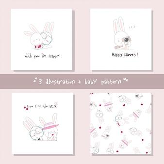 Impostare il personaggio dei cartoni animati coniglietto carino. vettore animale disegnato a mano
