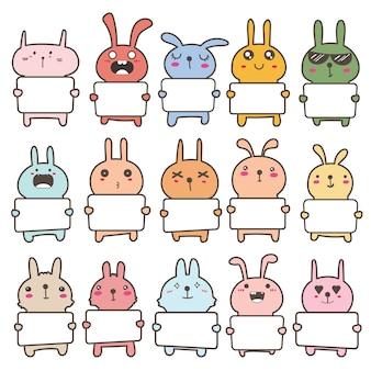 Set di simpatico coniglietto tenendo un cartellone design. illustrazione.