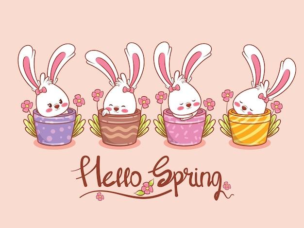 Set di un simpatico coniglietto con un vaso di fiori per la primavera. illustrazione del personaggio dei cartoni animati ciao concetto di primavera.