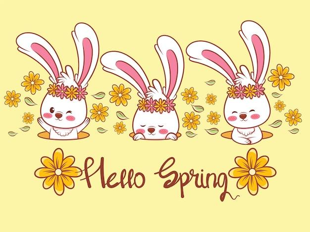Set di un simpatico coniglietto con un fiore primaverile. illustrazione del personaggio dei cartoni animati ciao concetto di primavera.