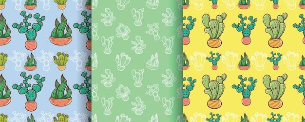 Set di simpatico personaggio dei cartoni animati di cactus senza cuciture