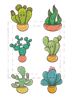 Set di simpatico personaggio dei cartoni animati di cactus