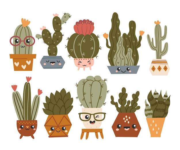 Set di simpatici cactus e piante grasse