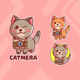 Set di logo mascotte gatto carino fotocamera con aspetto opzionale. kawaii