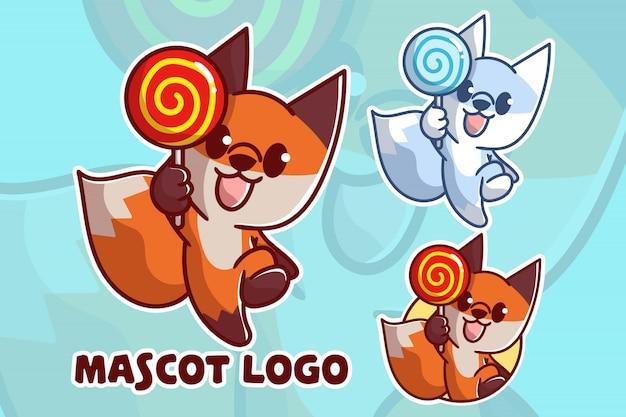 Set di simpatiche caramelle volpe logo mascotte