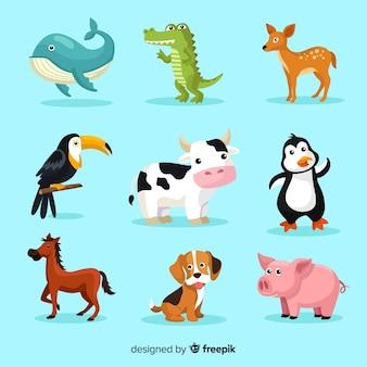 Set di simpatici animali dei cartoni animati