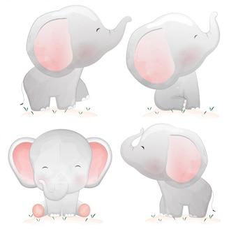 Set di elefantini simpatico cartone animato.
