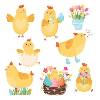 Set di polli simpatico cartone animato per il design di pasqua. illustrazione vettoriale