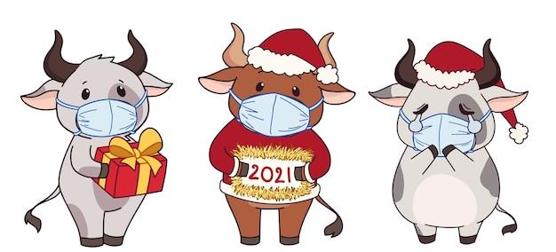 Insieme delle mucche sveglie del fumetto che portano mascherina medica e costume di natale.