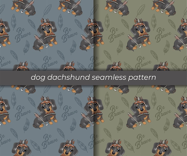 Set di simpatico cartone animato bassotto seamless pattern