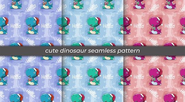 Insieme del dinosauro sveglio del fumetto con il modello senza cuciture del contenitore di regalo e del cappello di natale
