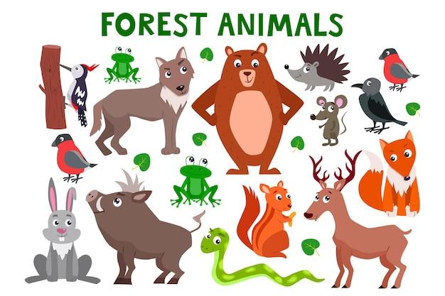 Set di simpatici animali della foresta del fumetto