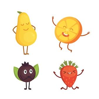 Set di frutta simpatico cartone animato. illustrazione con personaggi divertenti. tempo di cibo fresco divertente.