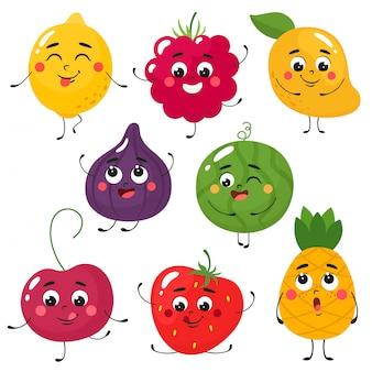 Set di frutta simpatico cartone animato. isola in stile cartone animato piatto su uno sfondo bianco.