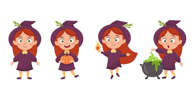 Set di strega ragazza simpatico cartone animato. illustrazione di halloween isolato su uno sfondo bianco.