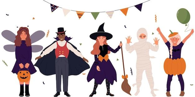 Set di ragazze e ragazzi simpatici cartoni animati vestiti con costumi per una festa di halloweenhalloween kids