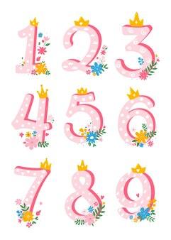 Set di numeri carini, cartoni animati, femminili da 1 a 10 con fiori per invito, modello di carta. elemento del fumetto. illustrazione piana di vettore.