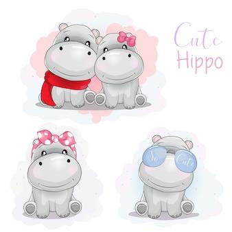 Impostare ippopotamo simpatico cartone animato con nastro, occhiali da sole e sciarpa