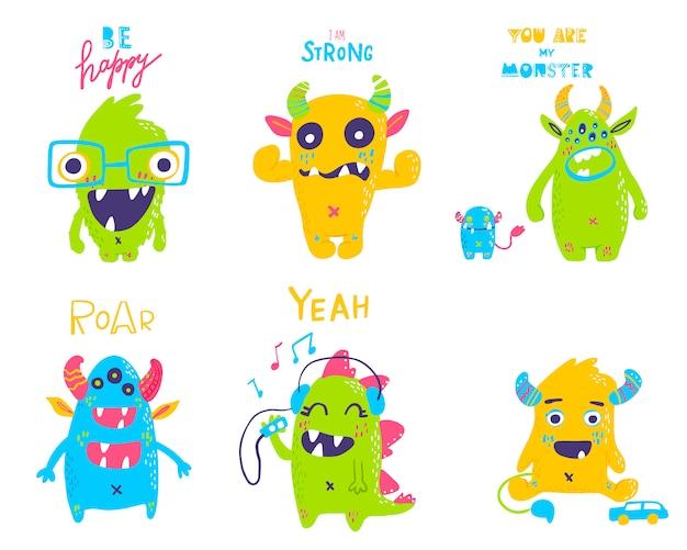 Set di mostri simpatico cartone animato