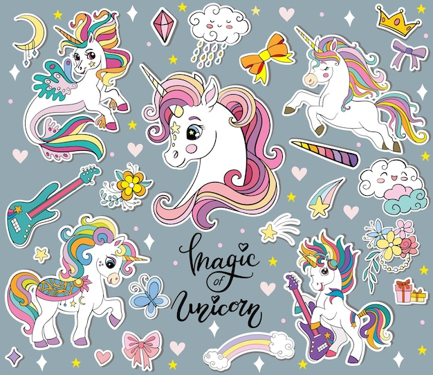 Set di unicorni simpatici cartoni animati ed elementi magici. illustrazione vettoriale isolato.