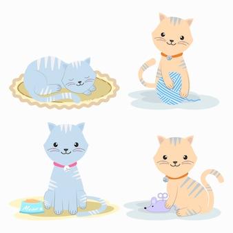 Set di simpatico personaggio dei cartoni animati di gatto