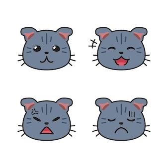 Set di facce di gatti carini che mostrano diverse emozioni per il design.