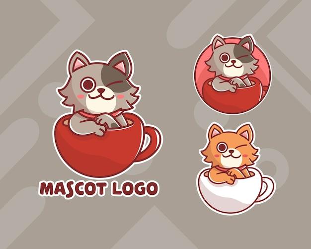 Set di logo mascotte tazza gatto carino con aspetto opzionale.