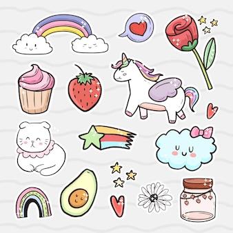 Set di simpatici adesivi per gatti e unicorno. moda ragazza arcobaleno.
