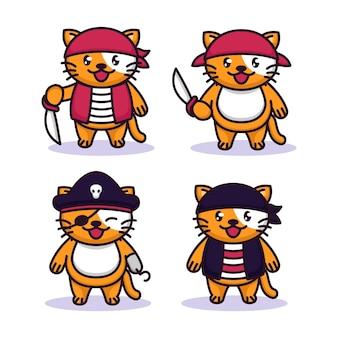Set di simpatici gattini con costume da pirati