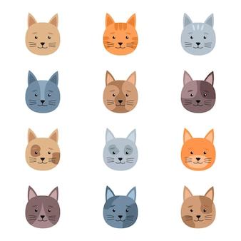Set di teste di gatti carini, illustrazione vettoriale