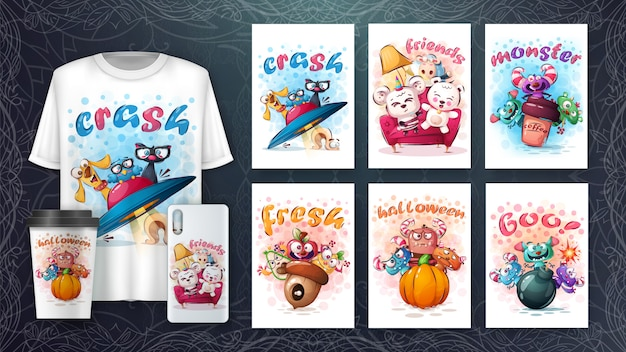 Set di simpatici personaggi per poster e merchandising