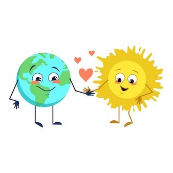 Set di simpatici personaggi del pianeta terra e del sole con diverse emozioni faccia braccia e gambe divertenti o sa...