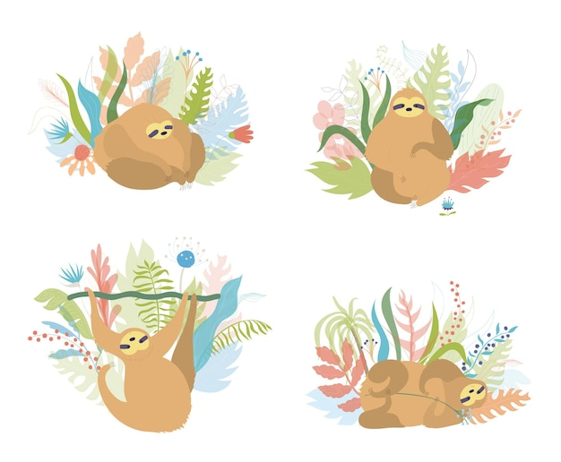 Set di bradipo simpatico personaggio. cartoon isolato bambino bradipi arrampicata piatto illustrazione vettoriale.
