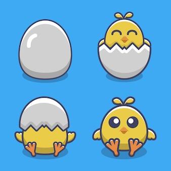 Set di illustrazione vettoriale carino pollo