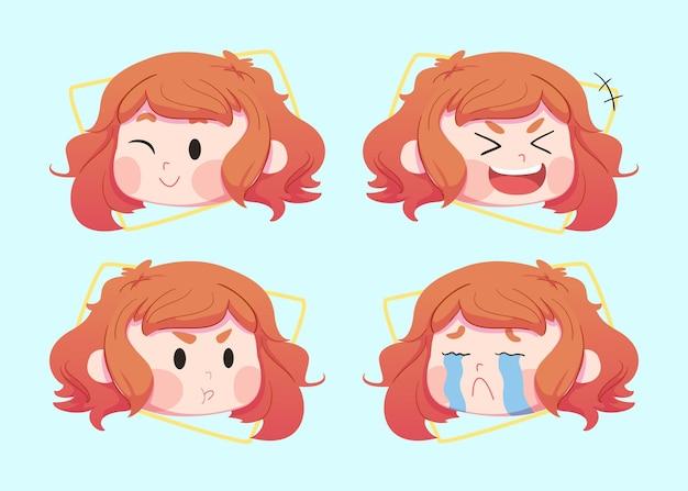Impostare simpatici personaggi per bambini in diverse espressioni facciali