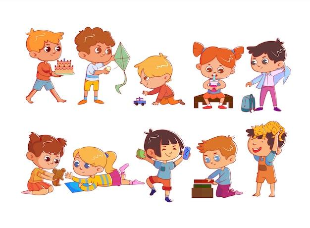 Set di simpatici bambini divertenti con attività e hobby
