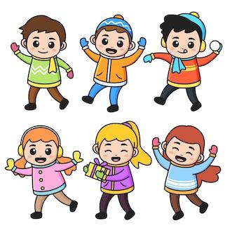 Set di bambini carini indossa abiti invernali