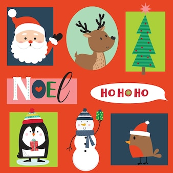 Set di simpatici personaggi natalizi e ornamenti, illustrazione vettoriale
