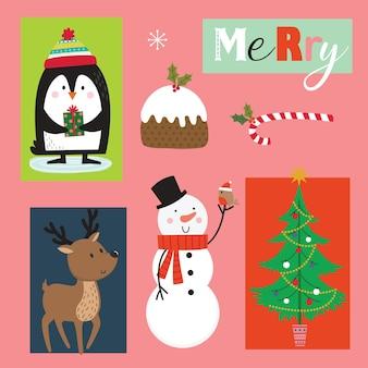 Set di simpatici personaggi natalizi e ornamenti