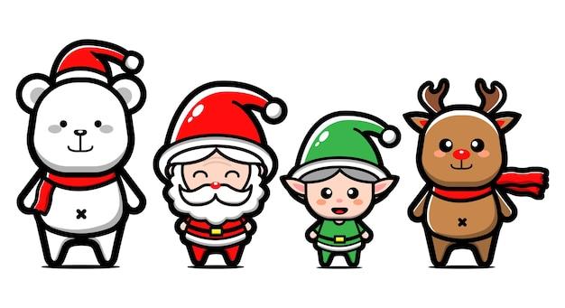 Set di simpatici personaggi natalizi