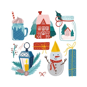 Set di carino illustrazione di natale