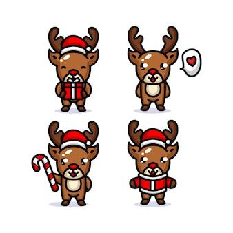 Set di mascotte carino renne di natale