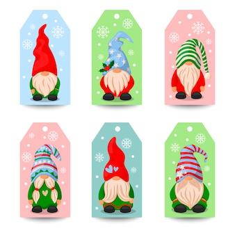 Set di simpatici elfi di natale santa gnome illustrazione in cartoon