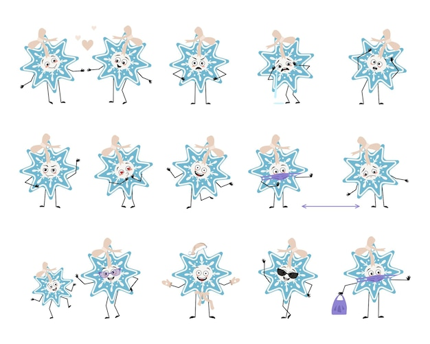 Set di simpatici personaggi natalizi con fiocco di neve con emozioni faccia braccia e gambe allegre o tristi d...